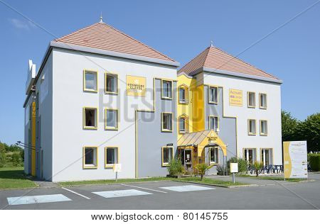 AYTRE, POITOU-CHARENTES, FRANCE - JUNE 25, 2013: Building of the Premiere Classe hotel. It is an international chain of super low budget hotels having about 250 hotels in 6 European countries