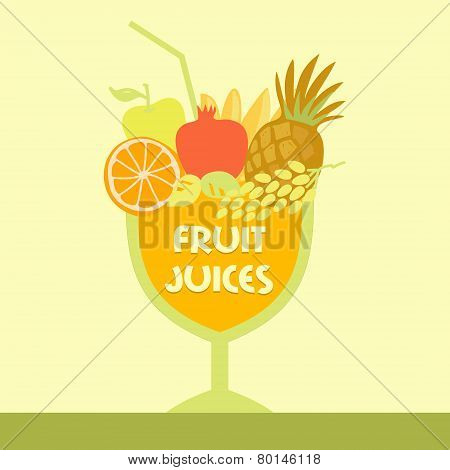 Vector logo fruit juice. Multifruit. Smoothies.