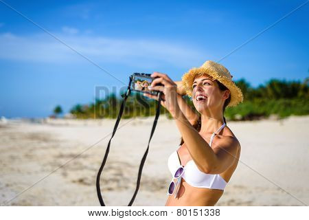 Woman Taking Selfie Photo On Tropical Vacation