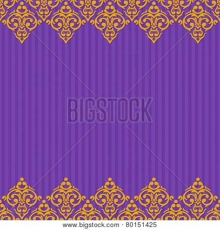 Vector Seamless Purple And Gold Frame/border In Damask Baroque S
