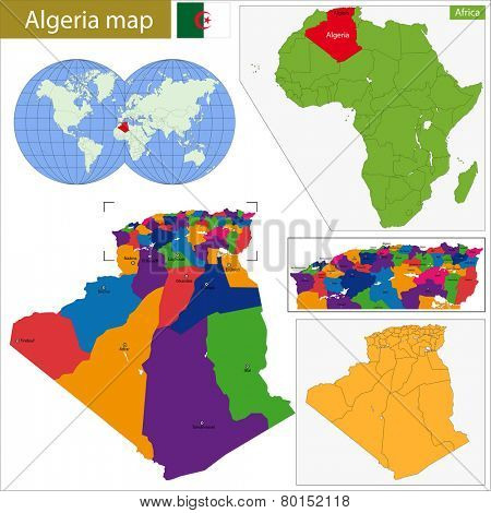 Algeria map with high detail and accuracy and it is divided into provinces which are colored with different bright colors