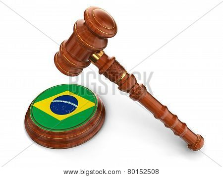 Wooden Mallet and Brazilian flag (clipping path included)