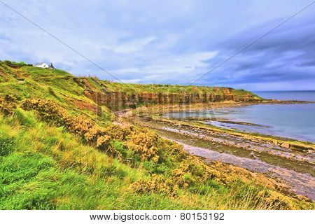 Cove Bay With Cliffs On The East Coast Of Scotland