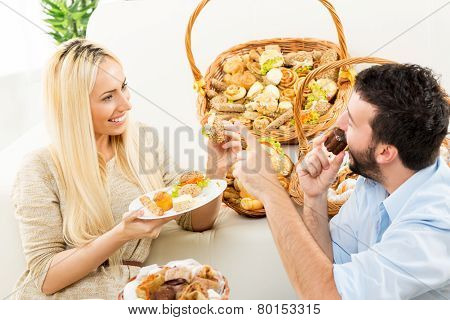Couple Enjoys In Baked Products