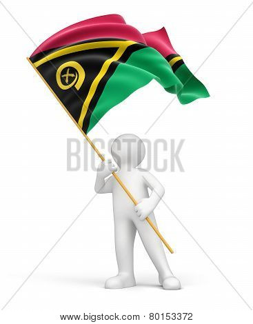 Man and Vanuatu flag (clipping path included)