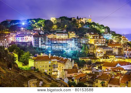 Lisbon, Portugal cityscape and hillside of Sao Jorge Castle.