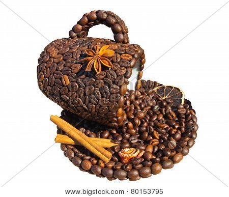 Cup Of Coffee Concept With Cinnamon And Beans Isolated On White Background
