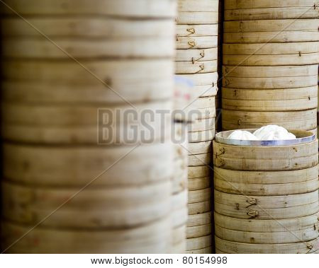 Stack Of Bamboo Rice Steamers