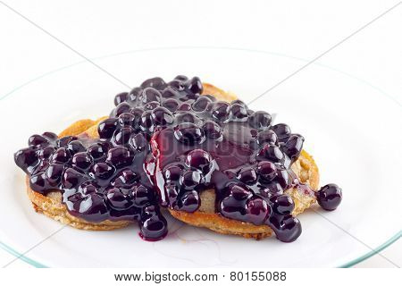 Walnut Pancakes With Fresh Blueberry Sauce