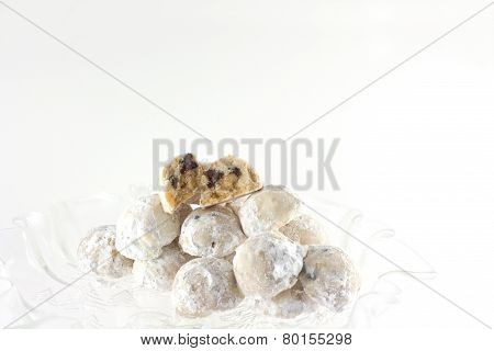 Homemade Chocolate Chip And Walnut Snowball Cookies