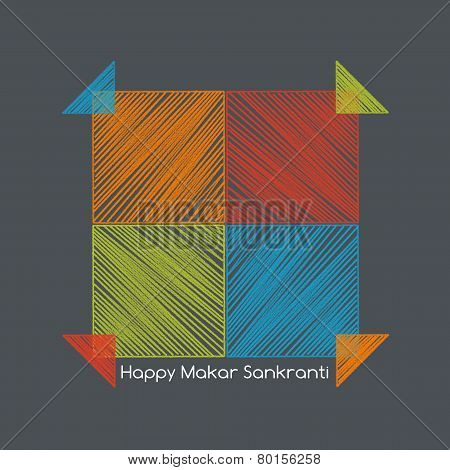 Four Colorful Kites Nearby, Makarsankranti Concept