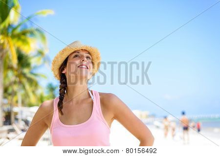 Beautiful Woman Enjoying Tropical Summer Vacation