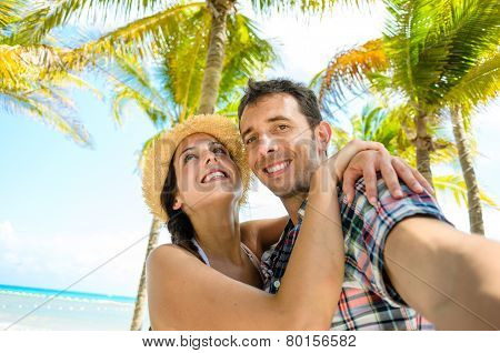Couple On Caribbean Travel Taking Selfie Photo