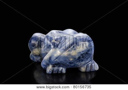 Sodalite Carved Frog Figurine