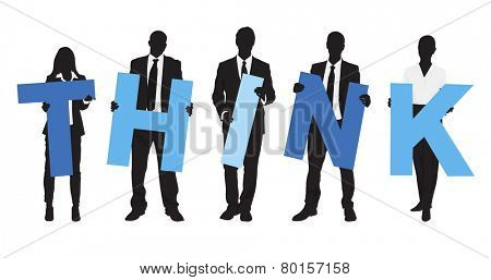 Silhouettes of Business People Holding Text Think