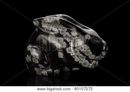 Snowflakes Obsidian Rabbit Figurine