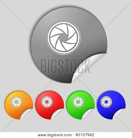 Diaphragm Icon. Aperture Sign. Set Colourful Buttons. Vector
