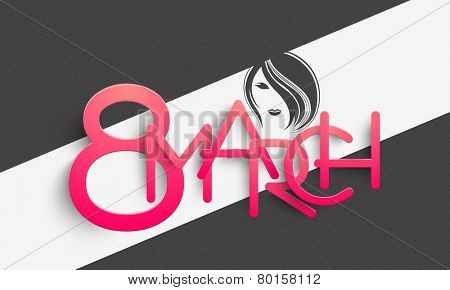 Glossy pink text 8 March with beautiful young girl face on stylish background for Happy Women's Day celebration.