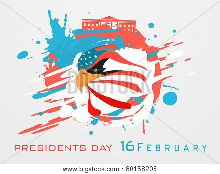 Creative poster or banner design for 16 February, Presidents Day celebration on American Flag color splash background.