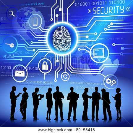Vector of Business People Discussing about Internet Security