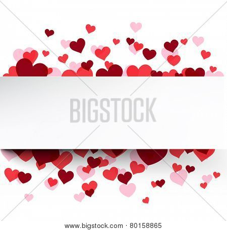 Love background with pink hearts. Valentine's greeting card. Vector illustration.