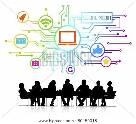 Vector of social media themed background with silhouettes of business people sitting around the conference table.