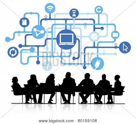 Silhouette Business People with Computer Network Concept