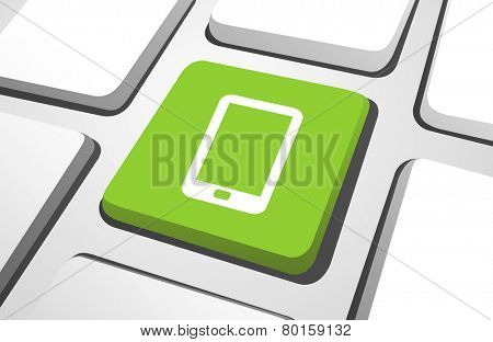 Smart phone icon on computer keyboard.