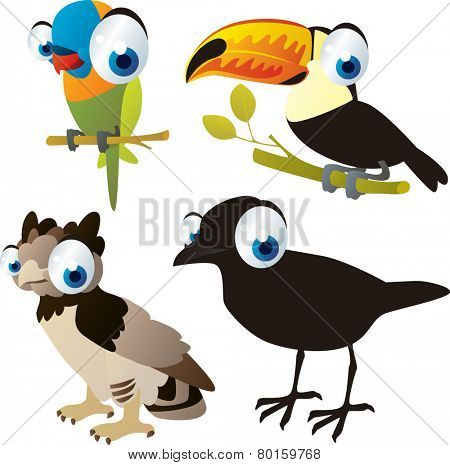 vector isolated cartoon cute animals set: birds: parrot, harpy, crow, toucan