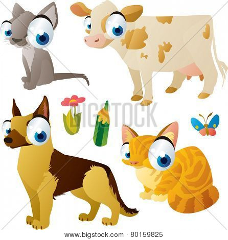 vector isolated cartoon cute animals set:farm: cat, dog, cow, kitten