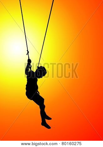 bungee jumping at sunset
