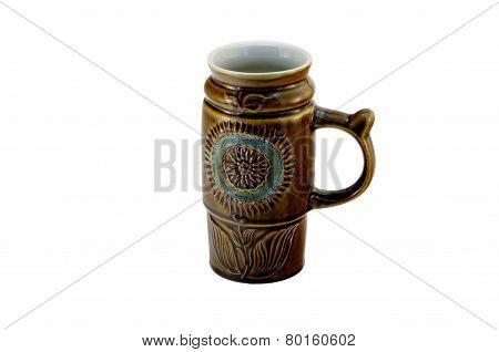 big brown mug isolated on white background