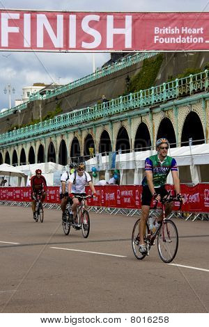 Cyclists Cross the Finish Line