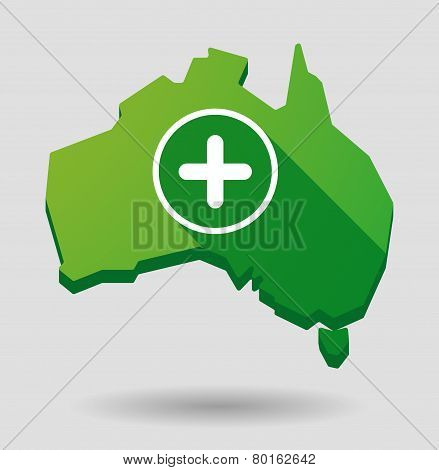 Green Australia Map Shape Icon With A Sum Sign