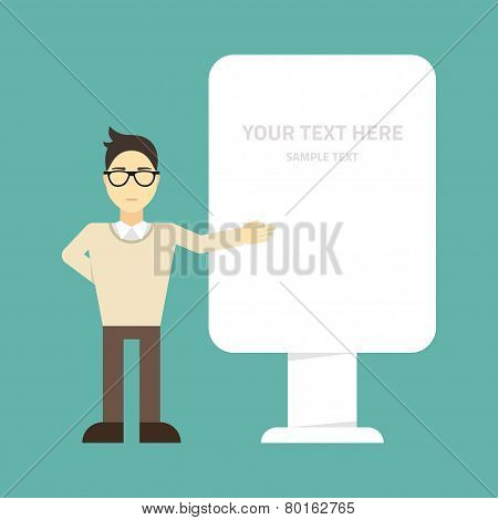 Flat vector illustration. Young businessman standing at the outdoor advertising box