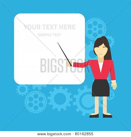 Flat vector illustration. Business woman standing at the presentation