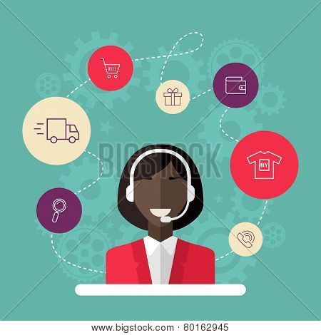 Technical Support Banners Set Assistant Woman With Icons Flat Design Vector Illustration