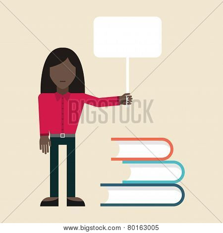Flat vector illustration. Student standing with the poster near books