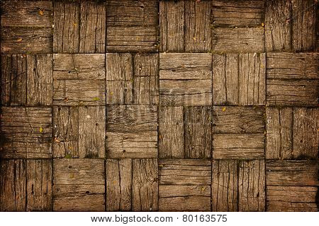 Weathered, Parquet Style, Wooden Decking