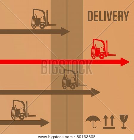 Fast Delivery Forklifts Icons Concept. Vector.