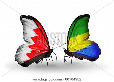 Two Butterflies With Flags On Wings As Symbol Of Relations Bahrain And Gabon