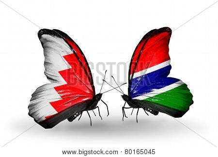 Two Butterflies With Flags On Wings As Symbol Of Relations Bahrain And Gambia