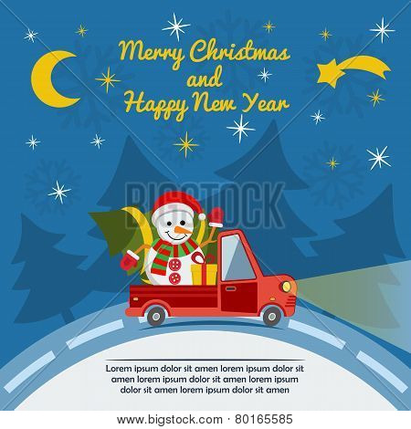 Christmas And New Year Greeting Card With Delivery Van. Vector.
