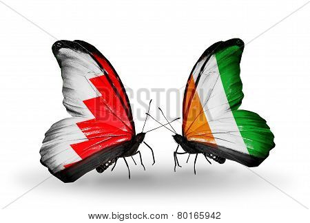 Two Butterflies With Flags On Wings As Symbol Of Relations Bahrain And  Cote Divoire