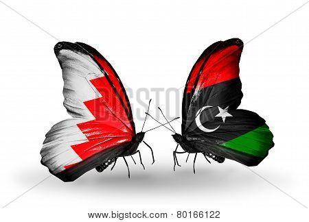 Two Butterflies With Flags On Wings As Symbol Of Relations Bahrain And  Libya