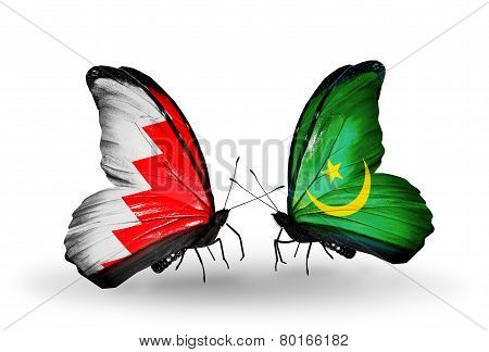 Two Butterflies With Flags On Wings As Symbol Of Relations Bahrain And  Mauritania