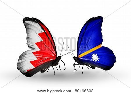Two Butterflies With Flags On Wings As Symbol Of Relations Bahrain And Nauru