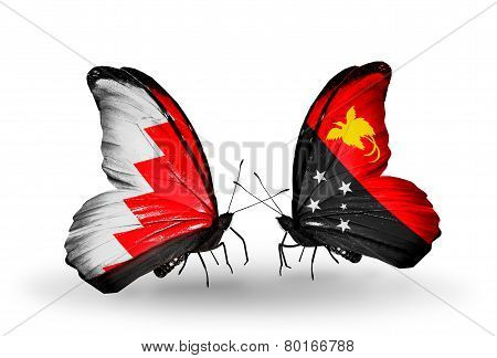 Two Butterflies With Flags On Wings As Symbol Of Relations Bahrain And Papua New Guinea