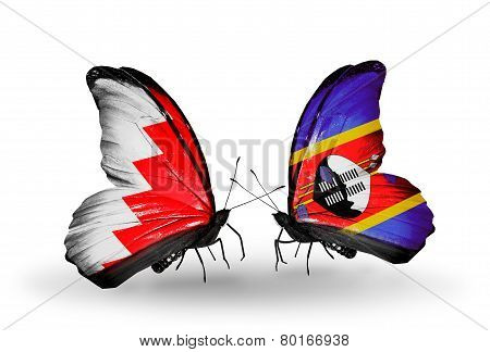 Two Butterflies With Flags On Wings As Symbol Of Relations Bahrain And Swaziland