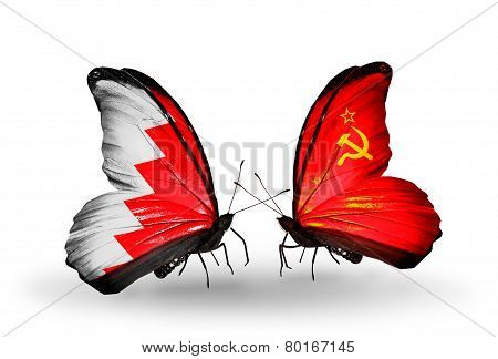 Two Butterflies With Flags On Wings As Symbol Of Relations Bahrain And Soviet Union